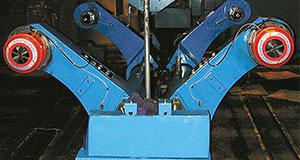 v brakes on corrugator roll stand